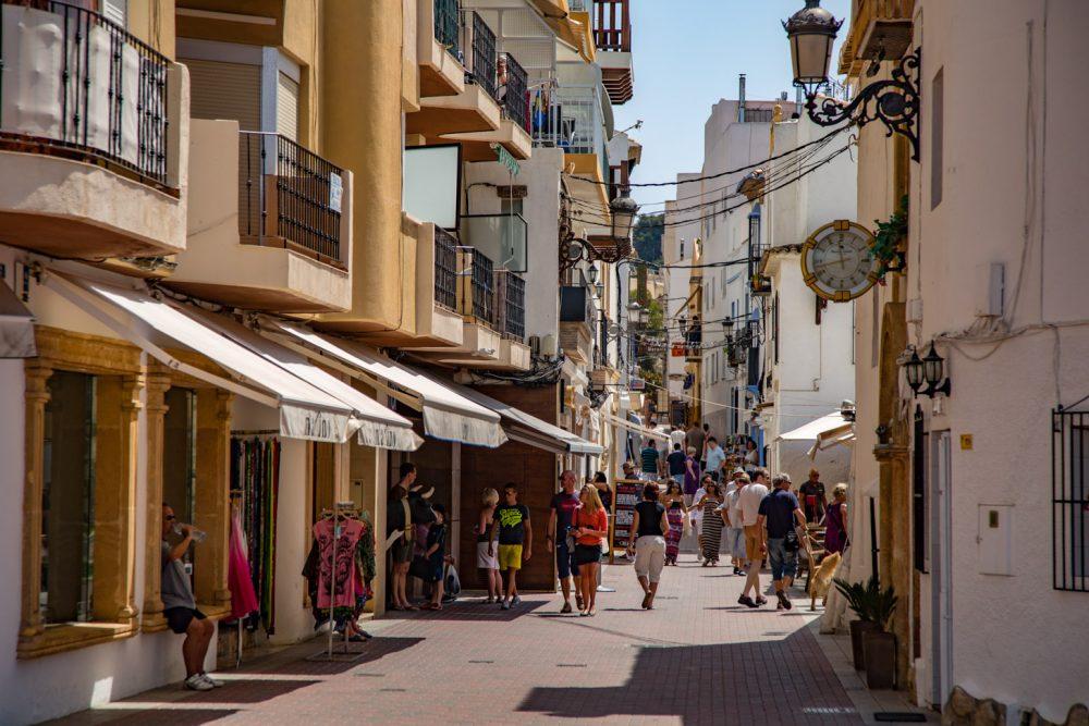 winkelstraat in Moraira